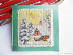 Купить Тихая ночь открытка новогодняя ручная вышивка крестом в интернет магазине на Ярмарке Мастеров