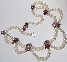 Antique-14k-Pearl-Diamond-Ruby-Necklace-Unique-Bib-Antique-Estate-Heirloom