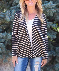 Taupe Stripe Open Cardigan