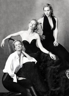 """Uma Thurman, Kate Winslet and Cate Blanchett by Annie Leibovitz. Anna-Lou """"Annie"""" Leibovitz is an American portrait photographer. Cate Blanchett, Kate Winslet, Divas, Vanity Fair Hollywood Issue, Foto Glamour, Annie Leibovitz Photography, Annie Leibovitz Portraits, Famous Faces, Belle Photo"""