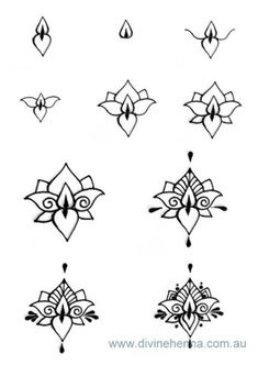 Divine Henna Step by Step Lotus and other henna designs. How To Draw Henna Designs You don't need to good at drawing to create your own henna designs. Using some of the most popular henna styles I have provided an ongoing series of tutorial video&…