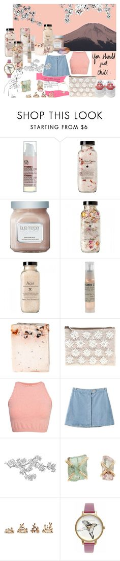 """""""#904"""" by claramsouza ❤ liked on Polyvore featuring The Body Shop, Laura Mercier, Le Labo, ASOS, adidas, Free People, Chicnova Fashion, Melissa Joy Manning, Forever 21 and Olivia Burton"""