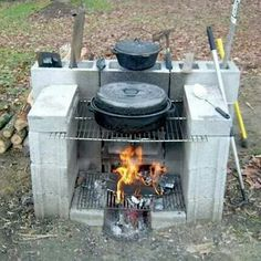 Outdoor fireplace for warmth, cooking, and fun.