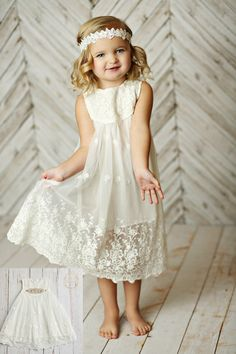 White Flower girl dress girls lace dress rustic flower girl