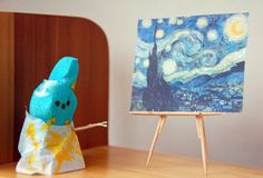 Vincent Van Gogh Peep - Starry Night This is for you, Ruth Lydia Crocker! Marshmallow Peeps, Easter Peeps, Easter Art, Happy Easter, Nerd, Peep Show, Elementary Art, Vincent Van Gogh, Art History
