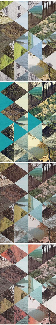 Well, it looks like Mother Nature and Belgian artist Jelle Martens have teamed up to make me jealous today. Is it wrong that I want to spend the night at a cabin, deep 'in the quivering forest', wrapped in one of these gorgeous quilt-like digital photo collages? No, I didn't think so either.