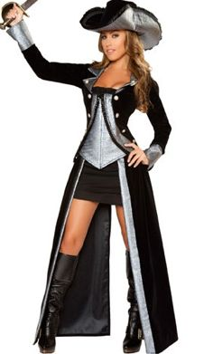 three piece pirate princess costume includes pirate hat tube dress jacket with busk and boning and detachable full length skirt sword not included - Pirate Halloween Costume For Women