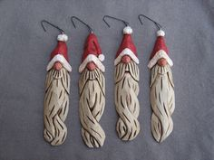 """6"""" Knotty, Santa, Tree Ornament, Hand Carved, Wood, Wood Carving, Gift For Christmas, Handmade, OOAK. $15.00, via Etsy."""