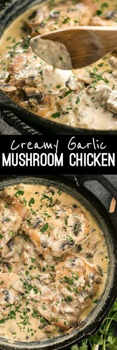 Healthy Recipes A simple pan sauce saves the day in this quick and easy Creamy Garlic Mushroom Chicken! - A simple pan sauce saves the day in this quick and easy Creamy Garlic Mushroom Chicken! Creamy Garlic Mushrooms, Creamy Mushroom Chicken, Creamy Garlic Chicken, Creamy Chicken Breast Recipes, Creamy Garlic Sauce, Portobello Mushroom Chicken Recipe, Recipe Chicken, Mushroom Stuffed Chicken, Chicken Thigh Recipes Easy