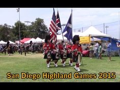 See the festivities at the 2015 San Diego Scottish Highland Games: Gathering of the Clans, Heavy Athletics, Triumph Car Display, Highland Dancing, Bands, Bag Piping and Drumming, and Sheep Dog Trials.