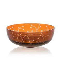 Handmade glass blown Dessert Bowl, Rosehip Dark Honey 5100, height: 46 mm | diameter: 120 mm | Bohemia Crystal | Crystal Glass | Luxurious Glass | Hand Engraved | Original Gift for Everyone | clarescoglass.com