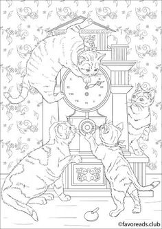 Adorable Cats - new FREE original Coloring Page from Cats and Dogs Collection.