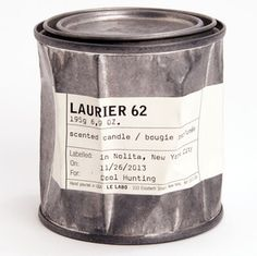 """Released this October, Laurier 62 is their newest original scent that blends laurel, cumin, sandalwood, eucalyptus, thyme and more into a chaotic yet beautiful """"mess"""" of a candle. It's housed in a vintage tin can container; resembling a miniature paint can that looks like it's been dinged and hammered and maybe even run over by a truck at some point"""