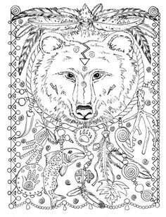 5 Pages Instant Download Animal Spirits To Color Wolf Raven Crow Eagle Bear Native American Art
