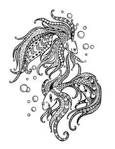"Dancing Fish ""Zentangle"" Drawing"