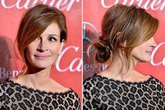 Julia Roberts undone textured loop updo with long, side swooped bangs | allure.com