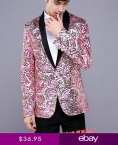 34dbbdc1716 Mens Dress Formal Bar Coat Slim Fit Jacket Gold Pink Sequins Bling Suit  Blazer