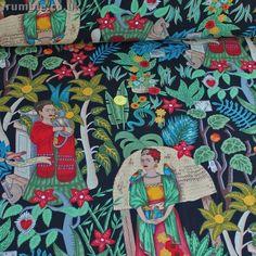 Alexander Henry Fabric Fridas Garden Black PER METRE Mexico Frida Kahlo de River    eBay