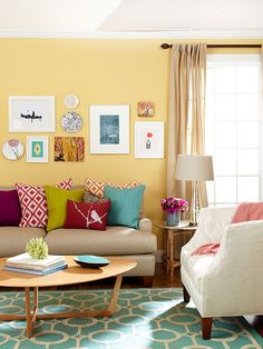 50 tips and living ideas for living room colors - Home Decoration Casual Living Rooms, Colourful Living Room, Home Living Room, Living Room Designs, Apartment Living, Modern Living, Cozy Living, Living Room Decor Yellow Walls, Yellow Walls Living Room