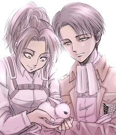 attack on titan Hanji and Levi awuh :3