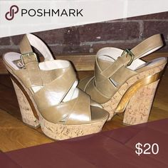 Tan leather cork wedges Tan leather. Gold accent. Cork Heel/wedge. 5.5 inch heel with 1.5 inch platform. Worn once. Dolce Vita Shoes Wedges