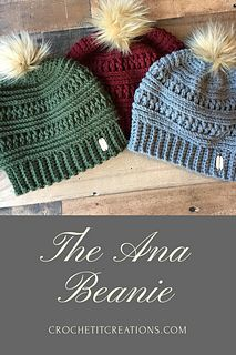 The Ana Beanie will be your favorite trendy hat this winter. It begins at the brim and works up to the top using a size H crochet Hook. If you would like the hat to not be so fitted, change to an I 5.5mm crochet hook after the brim. This will make the hat looser around the head. Complete the look by attaching a faux fur pom pom to the top. Instructions on how to make your own fur pom poms on crochetitcreations.com