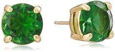 "kate spade new york ""Cueva Rosa"" Gold-Tone Green Glass Stud Earrings"