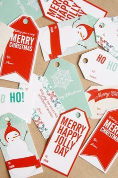 Free printable Christmas gift tags.