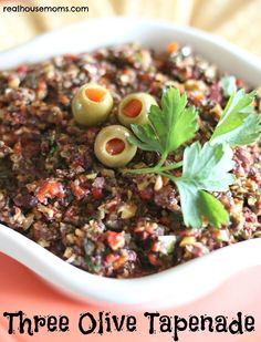 Three Olive Tapenade - Tapenade is great as a sandwich spread or on crostini with goat cheese, but it costs a fortune to buy it at the market - save, by making your own!  Kalamata, large green, & California pitted olives, roasted red bells, garlic, parsley & basil, lemon juice, capers & olive oil. Easy-peasy and oh, so good.