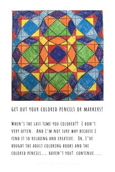 Try a little meditative coloring - even if you don't quilt!