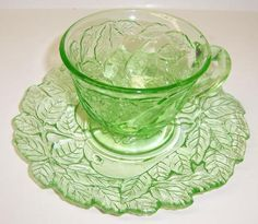 Indiana Depression Glass Green AVOCADO, Sweet Pear, No. 601, Tea or Coffee CUP and SAUCER