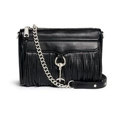 Rebecca Minkoff 'Mini Mac' fringe leather crossbody bag ($220) ❤ liked on Polyvore featuring bags, handbags, shoulder bags, black, leather shoulder bag, leather crossbody, crossbody purse, black fringe purse and leather crossbody handbags