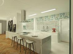 Retrofit Apto Vila Rica. A cozinha ganhou um novo revestimento em ladrilho nos tons de azul, que se destacam na pureza do branco da marcenaria e da bancada. @giselemilchert @danielasarmento