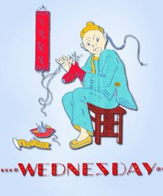 """1920s Day of the Week """"Coolie"""" Tea Towels Uncut Betty Burton Embroidery Transfer #TeaTowelTransfer"""