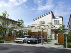 """写真はYKK APの『エフルージュ ツインプラス』。屋根を延長することにより""""車庫+αの空間""""を確保した新たなカーポート。駐輪場やアプローチ屋根のニーズや、住宅の顔となる外構プランにこだわりたいというニーズに応える Japanese Modern, Japanese House, Townhouse Designs, House Front Design, Facade House, Mid Century House, Home Reno, Gazebo, Entrance"""