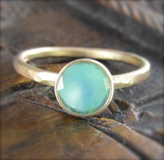 Blue Peruvian Opal Ring in Recycled 14k Gold - One of a Kind - Non traditional Engagement Ring
