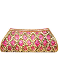 Pink Art silk Clutch Bag