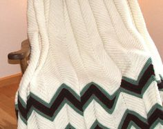 Crochet Ripple Afghan with Green and Burgundy Accents