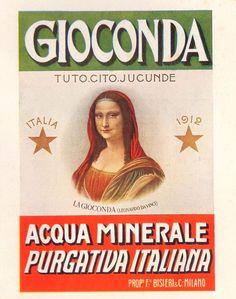 PUBBLICITA' 1924 ACQUA MINERALE GIOCONDA F.BISLERI MEDICINALE LEONARDO DA VINCI