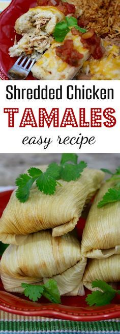 You'll love this easy recipe for shredded chicken tamales. They're packed with savory flavor and take less than 1 hour prep. Cook the chicken in a crock pot for 3 hours and steam the tamales for one hour. It's a Mexican dinner m Homemade Tamales, How To Make Chicken Tamales Recipe, Chicken Tamale Filling Recipe, Recipe For Tamales, Easy Tamale Recipe, Sauce For Tamales, Authentic Tamales Recipe, New Recipes, Cooking Recipes