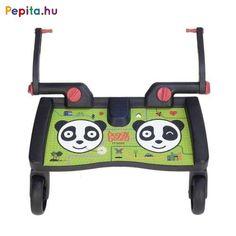 Jellemzői:   - Valamennyi MamaKiddies babakocsival kompatibilis, melyek hátsó tengelyének szélessége 31-54 cm   - Terhelhetősége: 20 kg   - A szettben található adapter segítségével könnyen felszerelhető a babakocsi hátsó részére   - A fellépő szélessége 46 cm, mélysége 18 cm Panda, Vehicles, Car, Pandas, Vehicle, Tools