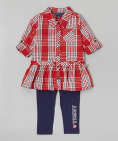 Another great find on #zulily! Red Plaid Button-Up Tunic & Leggings - Infant & Toddler #zulilyfinds