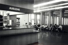 Zürich, ETH Zürich, Hauptgebäude (HG), Hauptbibliothek, Ausleihe, Schalterhalle. Ans_01374-A
