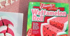 Friendly's Wattamelon Roll, an ice cream cake made in the likeness of a watermelon, is summer's best dessert, hands down. Friendly's Ice Cream, Snack Recipes, Snacks, How To Make Cake, Pop Tarts, Watermelon, Chips, Rolls, Lemon