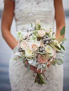 simple romantic bouquet blush and ivory