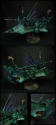Dark Eldar Ravager Gunship. Wargear: 3x/dark-lances; shock-prow; grizzly-trophies; flickrfield.