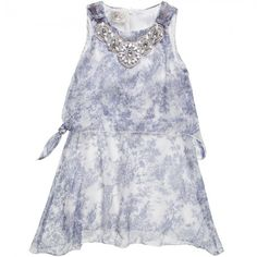 Illudia - Blue Silk Dress with Necklace | Childrensalon