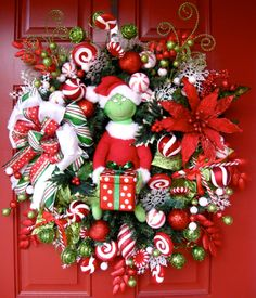 Santa Grinch Christmas Wreath, by IrishGirlsWreaths, $169.99- *SOLD!*