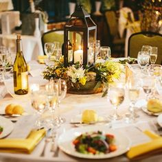 greenery centerpiece with lantern Wedding 2015, Dream Wedding, Wedding Day, Greenery Centerpiece, Centerpieces, Wedding Reception Decorations, Table Decorations, Rustic Apartment, May Weddings