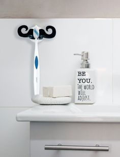 Attirant Mustache Toothbrush Holder Stand With Silicone Vacuum For Home Bathroom.  Unique Gift For Him With